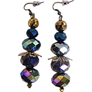 "AB Mixed Crystal Beads..Browns To Navy..Drop / Dangle Earrings...2.5"" Drop"