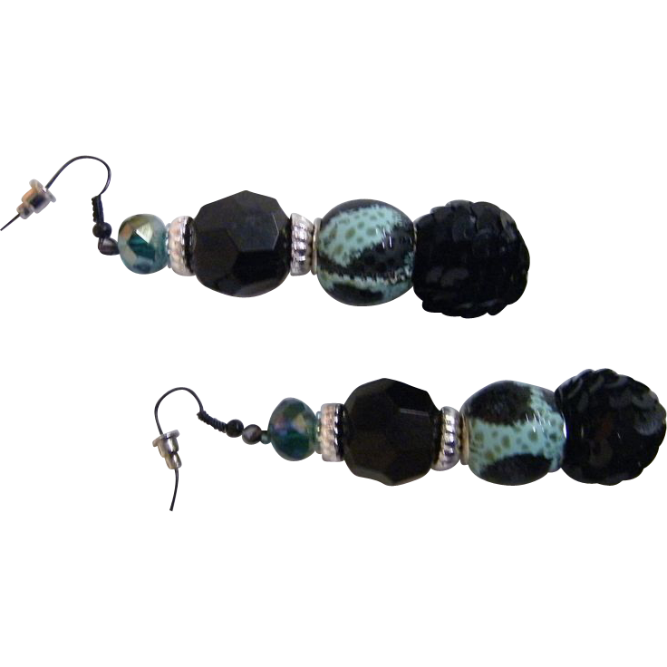 Artisan Dangle / Drop Earrings..Black Jet, Aqua & Black Animal Spots, & Black Sequin Ball..2.75""