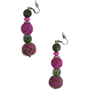"HOT PINK Mixed Bead Drop / Dangle Earrings..Accent Beads Green..2.75"" Drop"
