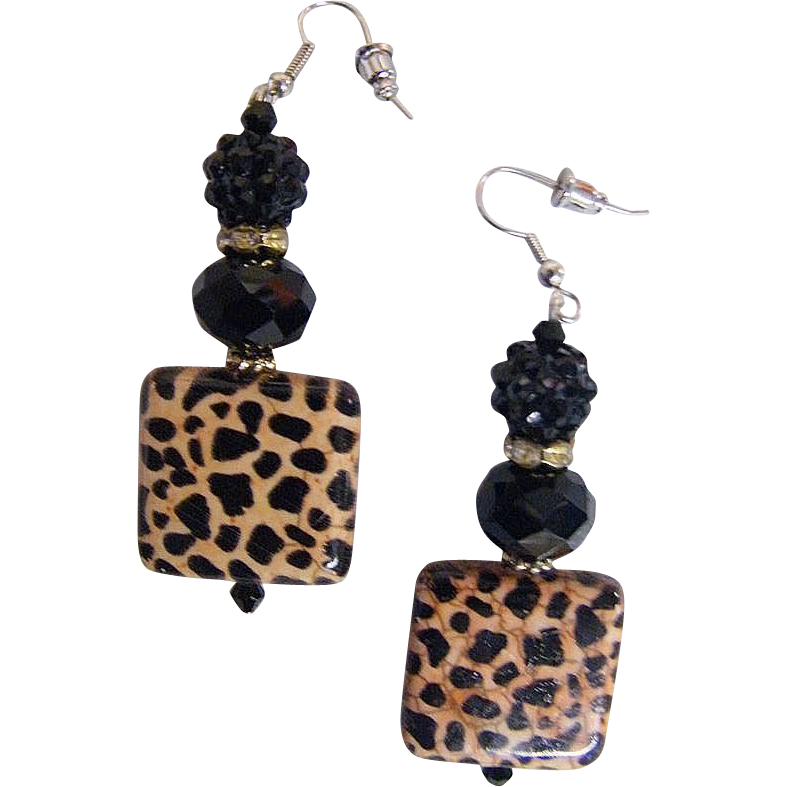 "Leopard Square Porcelain Bead With 2 Novelty Black Jet Drop / Dangle Earrings...2"" Drop"