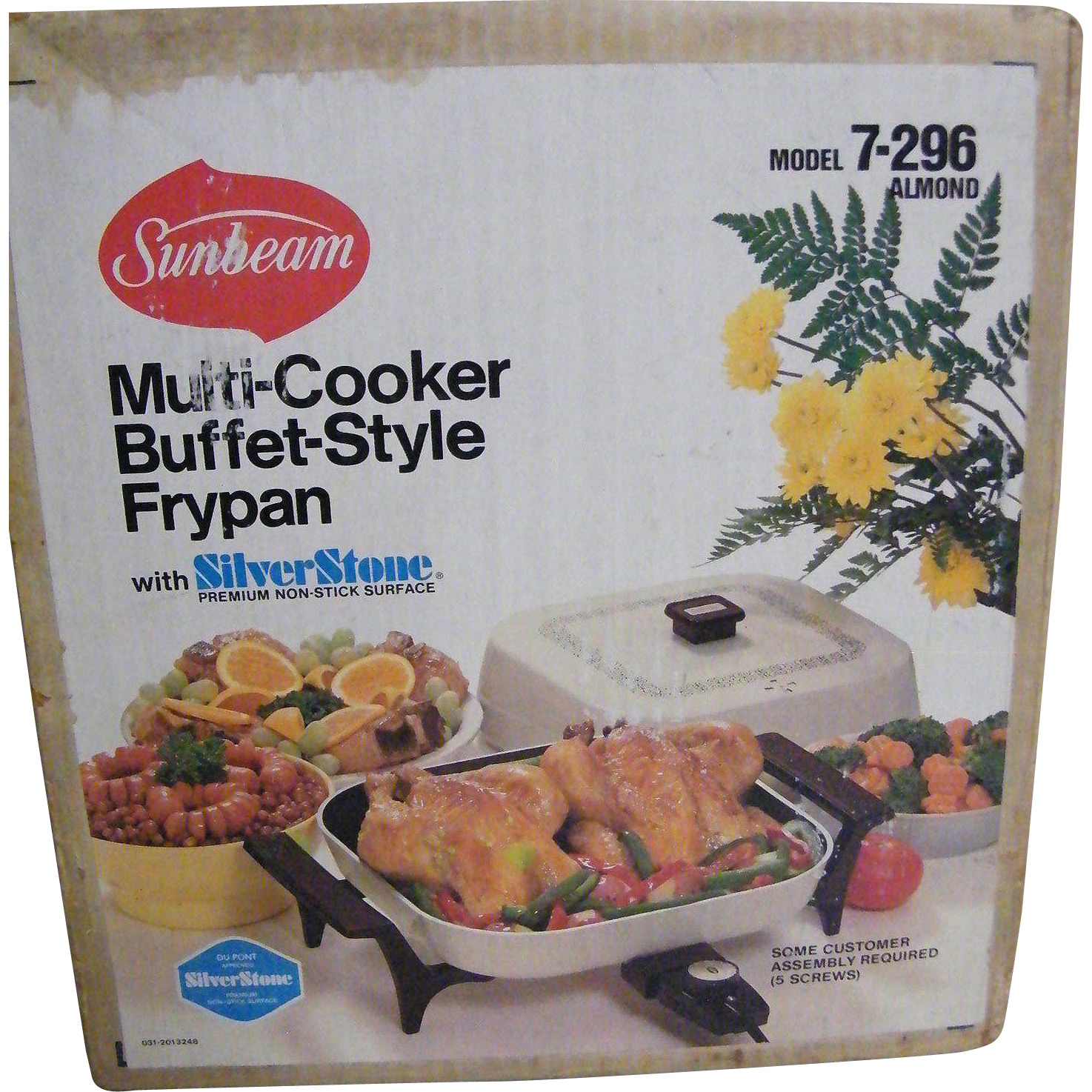 Sunbeam Electric Buffet Style Fry Pan..Almond Enamel Finish..DuPont Silverstone..New In Box..Never Opened
