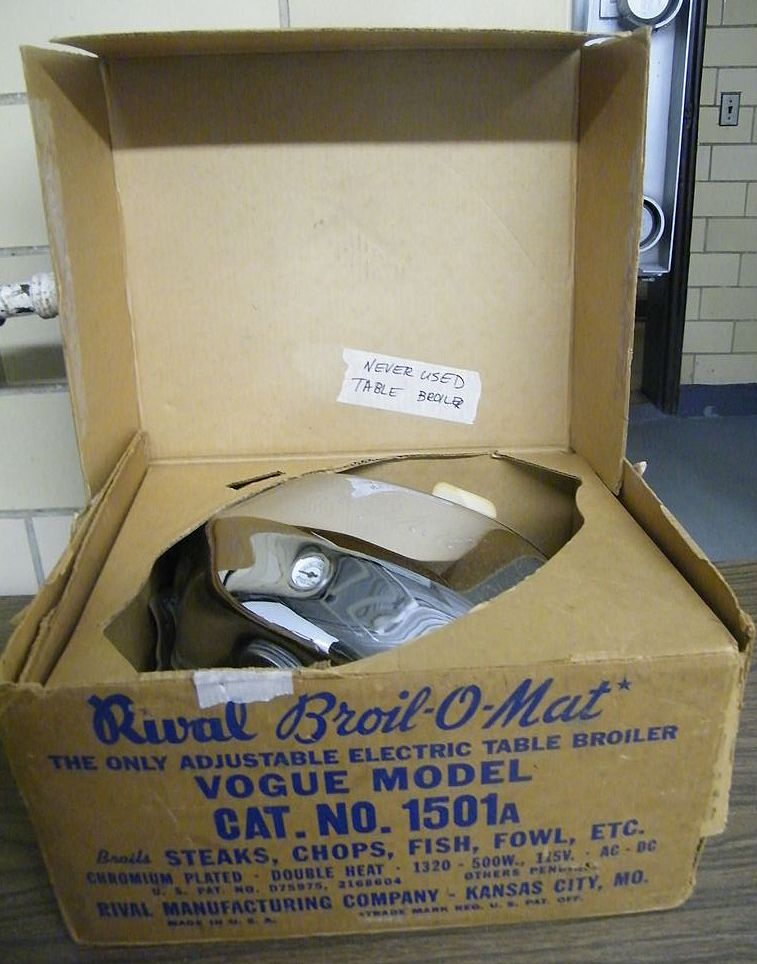 NEW..Mid-Century...RIVAL BROIL-O-MAT Electric Broiler..Box..Instruction Booklet..Never Used