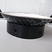 SWIRL / Confetti Enamelware WOK Set..1950's..Black / White..NOS
