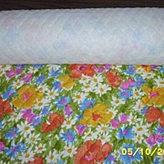 Bates V.I.P. Fabrics Cotton Sateen Quilted 1960's  Avocado Ground Floral Print