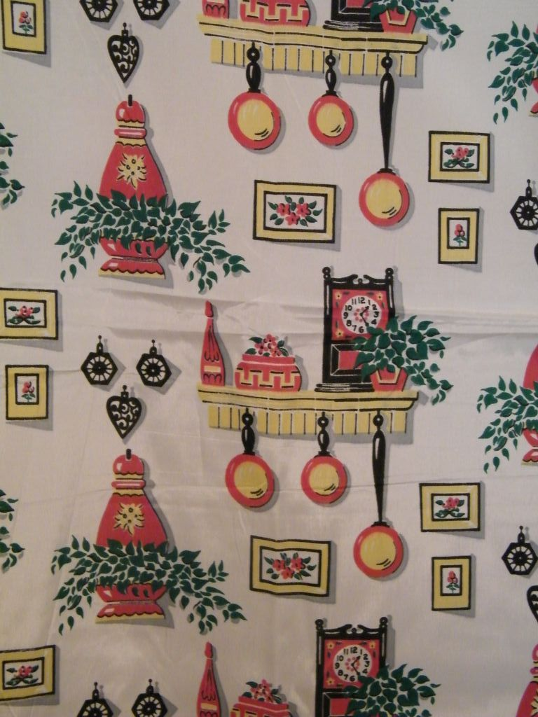 Vintage..40's-50's Acetate Taffeta Fabric With Kitchen ...