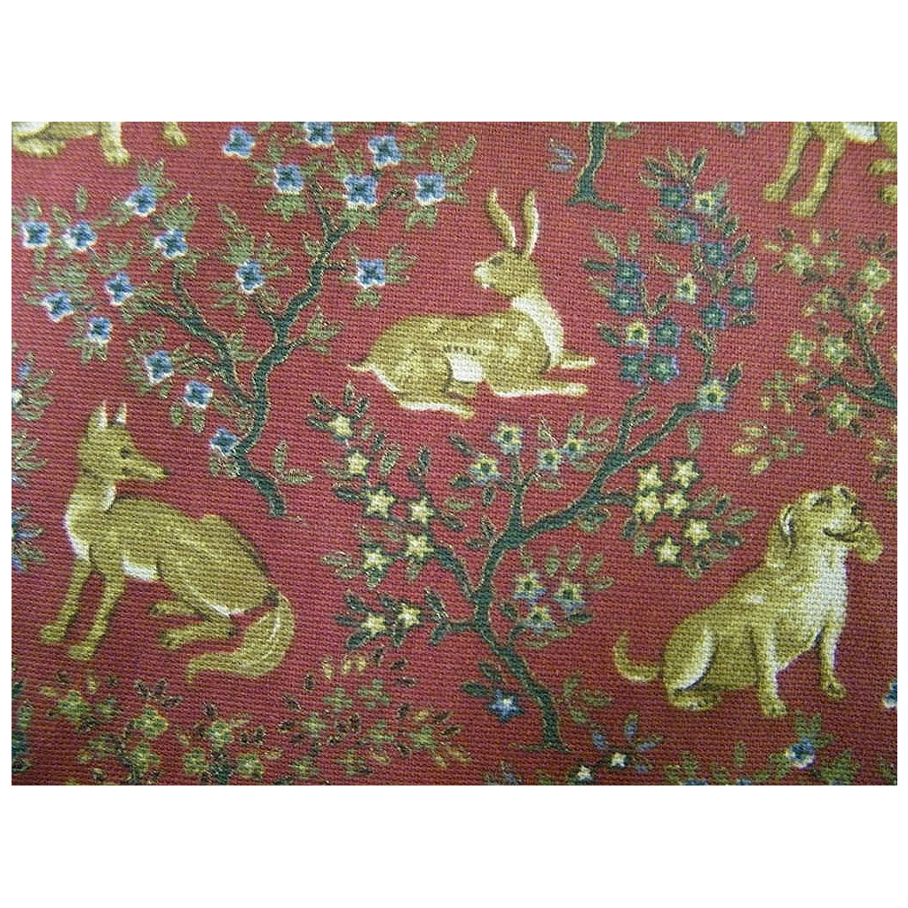 Hunters Ridge...Hunted Animals Cotton  Print On Dark Brick Red Ground..Medium Weight Oxford Weave..Upholstery & Drapes..New Condition