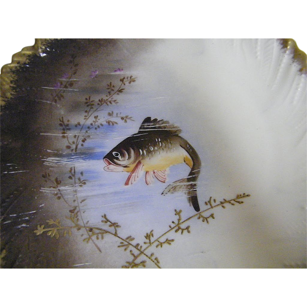 Antique Set Of 12 Hand Painted Fish Plates..4 Designs..By L S & S..Limoges France..1896-1905