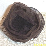 Starched Organdie Antique Brown Colored Vintage Millinery Rose