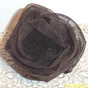 Starched Organdie Antique Brown Colored Vintage Millinery Rose