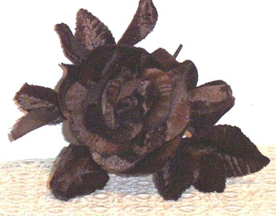 Vintage Brown  Velvet  Large Millinery Rose, Bud, And Leaves