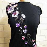 DESIGNER..Gown..Black Jersey..Beaded Vest..Long Sleeves--Side Draped Straight Cut..Small-Excellent Condition..1980's