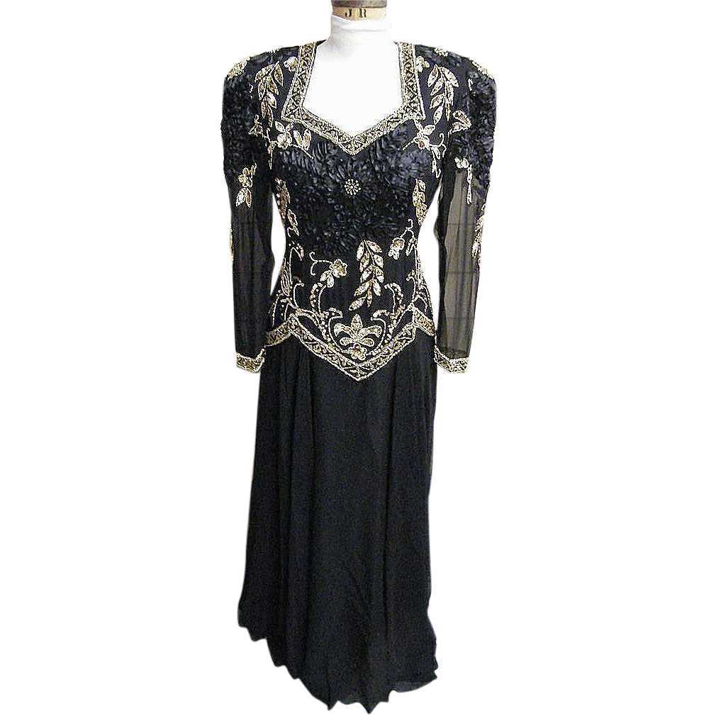 Black Silk Crepe Chiffon Long Gown With Gold Hand Beading..LongSleeves..Bra..Excellent Condition..Size Extra Large
