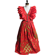 FABRICE Couture Ball Gown..2 Piece..Silk Taffeta..Medium Red..Gold Stroke Print..Small..Excellent Condition