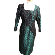 Green & Black Beaded Silk Brocade Sheath  Gown By Custom Stagewear Couture Designer Lorraine Ruggieri