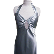 Halter Top Gown Bridesmaid Dress With Clear Rhinestone Diamond Applique Between The Breasts Coordinates with Similar Style in Size 3/4 Jessica McClintock