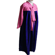 Korean Ceremonial Dress / Gown..Silk Damask..Eggplant Gown / Dusty Rose Bolero..Designer Made..Excellent Condition!