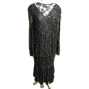 1950's Style Long Dropped Waist Blouson..Black Lace & All-Over Beaded Butterfly Design..Nagpal New York..XL..Excellent Condition