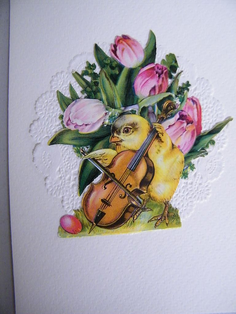 Greeting Card Collage..Vintage Ephemera..Baby Chick Playing A Violin..Easter Card..NOS