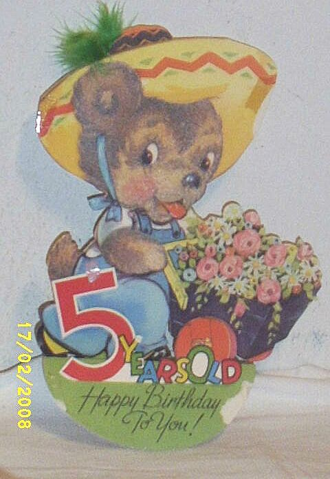 Vintage...1940's Child's EASEL  Greeting Card Assortment..5... With Fuzz