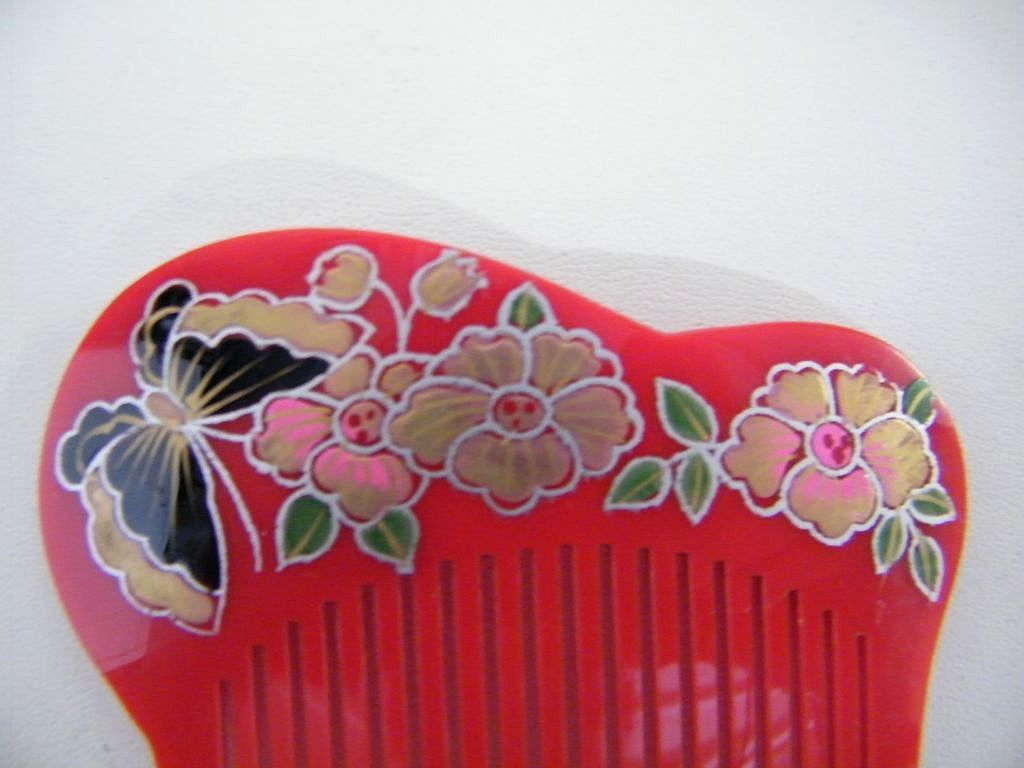 Japanese Hair Ornaments / Combs..Hand Painted & Carved Lucite..Butterfly & Flowers..1970's - 80's..NOS..5 Available