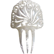 Large Spanish Style Chignon..White Perlized Plastic..Vintage..Made By Balloid Of Switzerland..NOS..2 Pieces Available