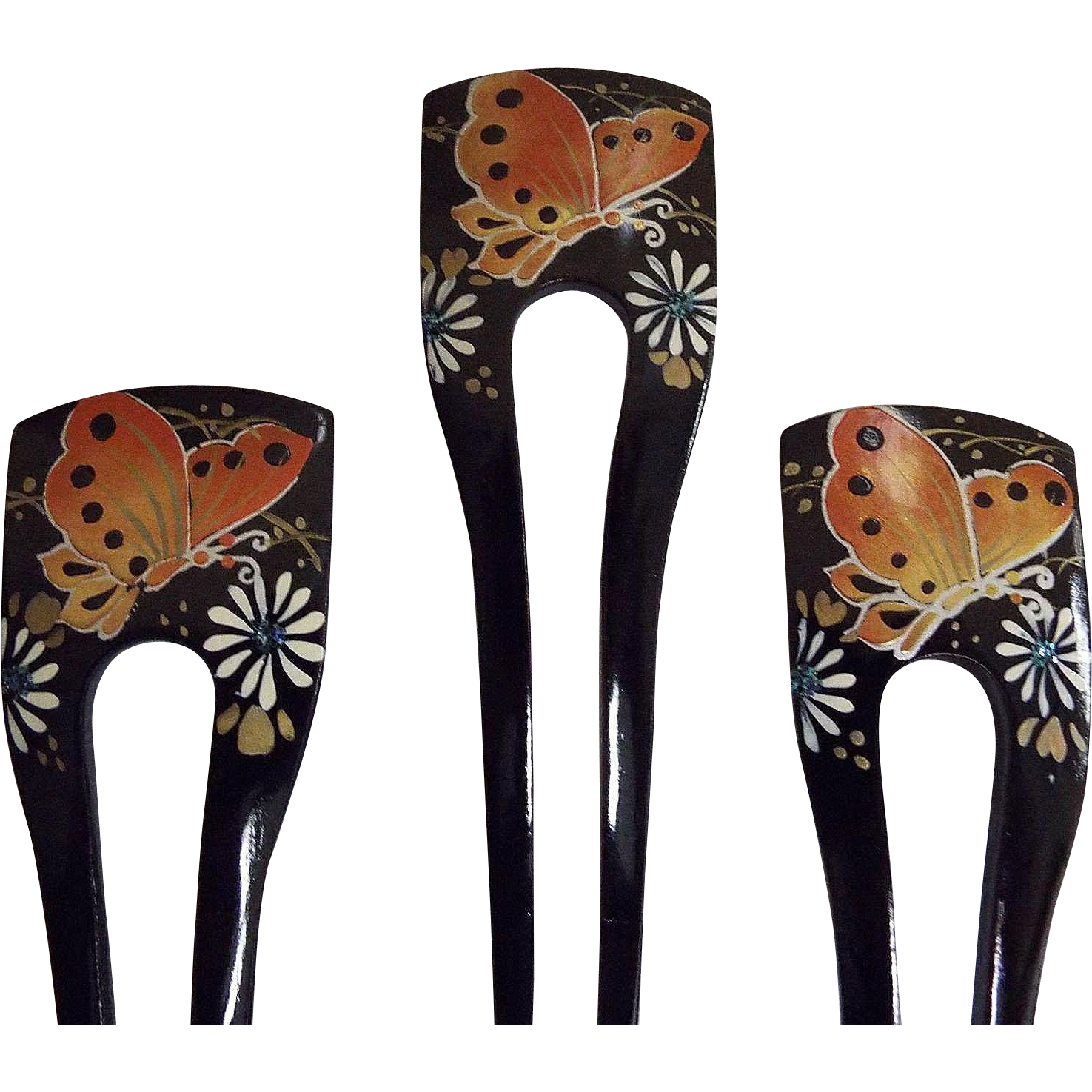 Japanese Black Lacquer  2 Prong Chignon..Hand Painted Butterfly And Flowers..NOS..1970's - 80's