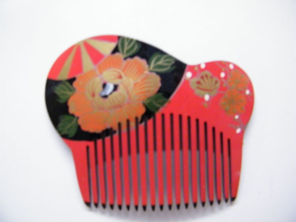 Japanese Hair Ornaments / Combs..Hand Painted & Carved Lucite..Floral..Red With Black Back..1970's-80's..NOS..5 Available