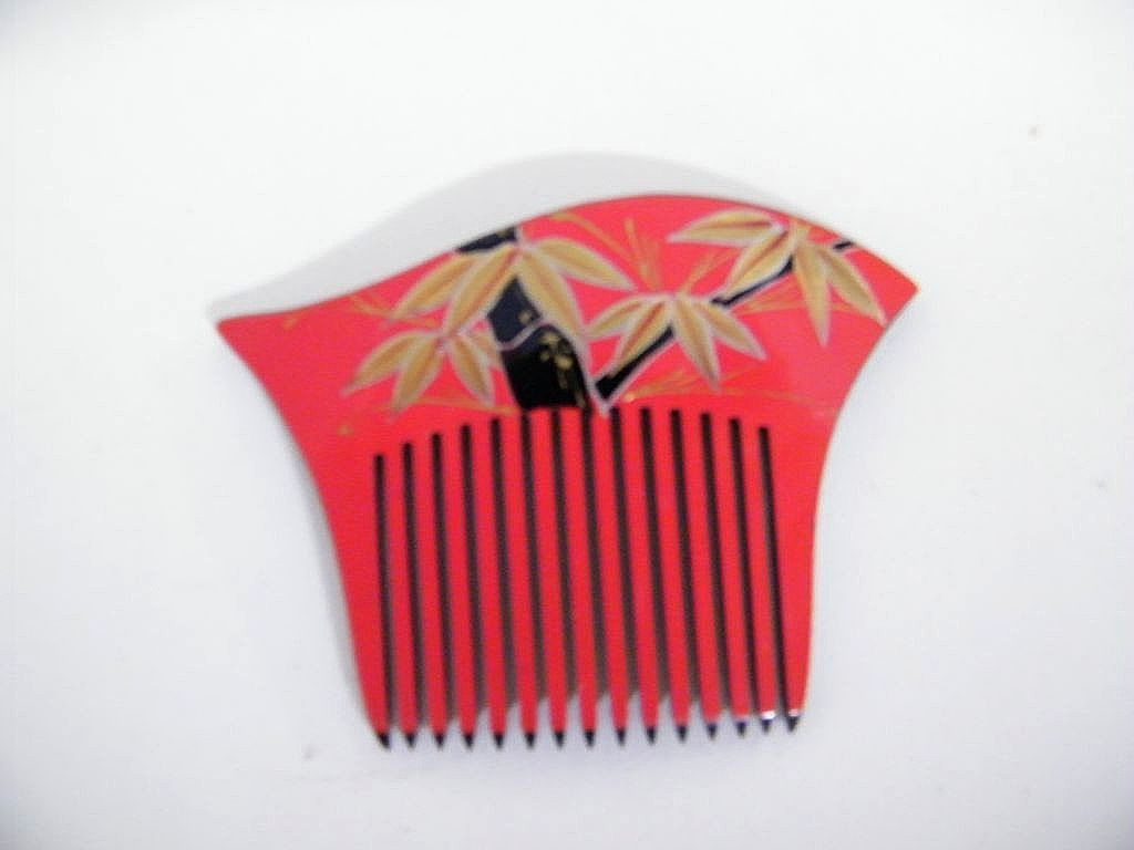 Japanese hair ornaments - Japanese Hair Ornament Side Comb Hand Painted Lucite Nos 1970 S 80 S 4 Available