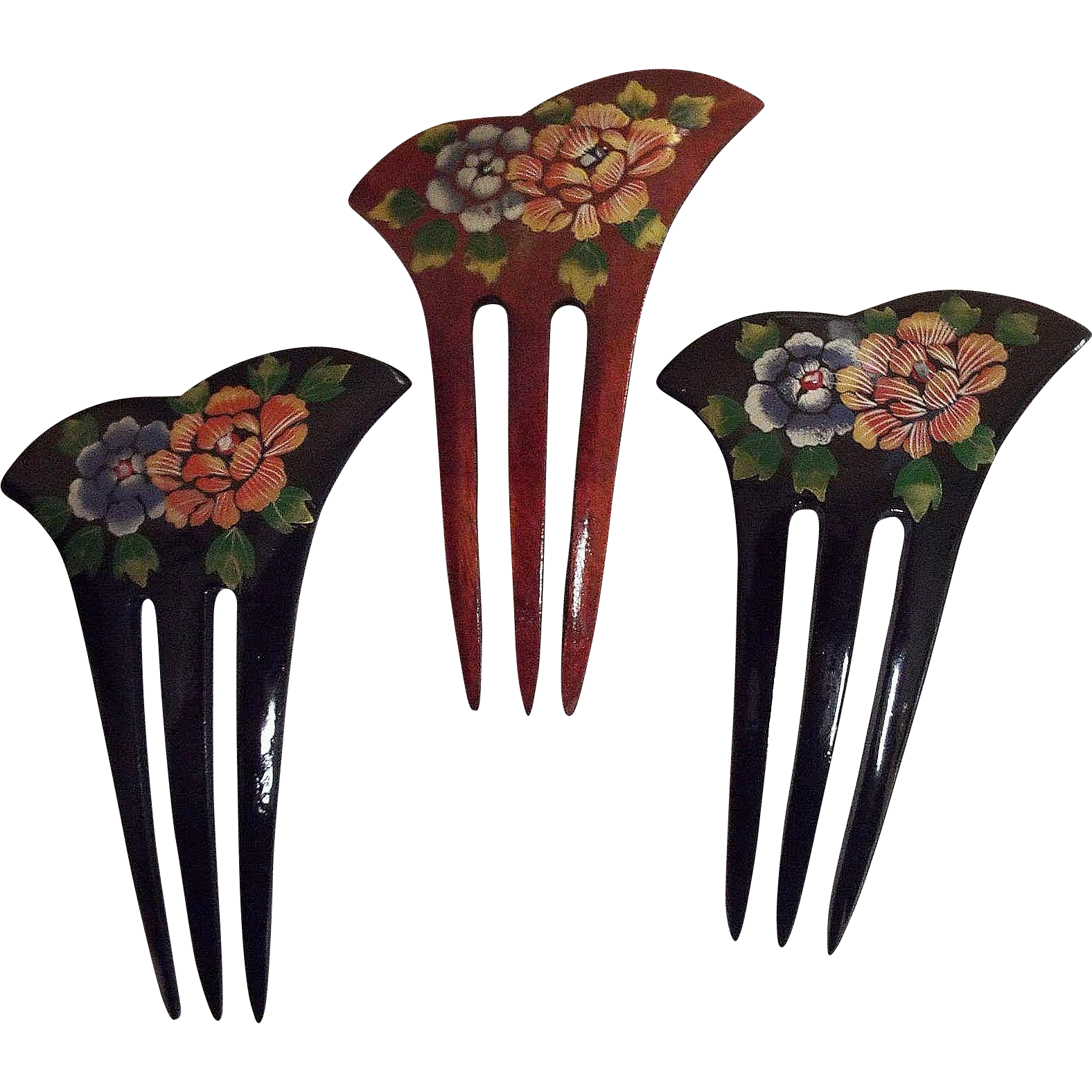 Large Japanese Natural Wood Hand Painted Floral 3-Prong Chignon..NOS..1970's-80's