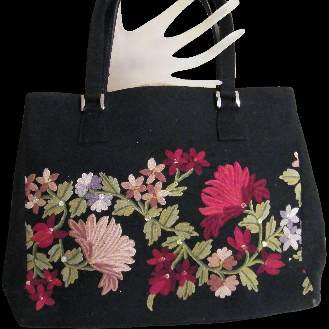 Striking ISABELLA FIORE Crewel Embroidered Wool Handbag Light Dusty & Dark on Black Ground