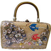 Atlas Princess Charming Straw / Rattan Box Handbag With Shells & Felt Fish & Plastic Window....Hong Kong