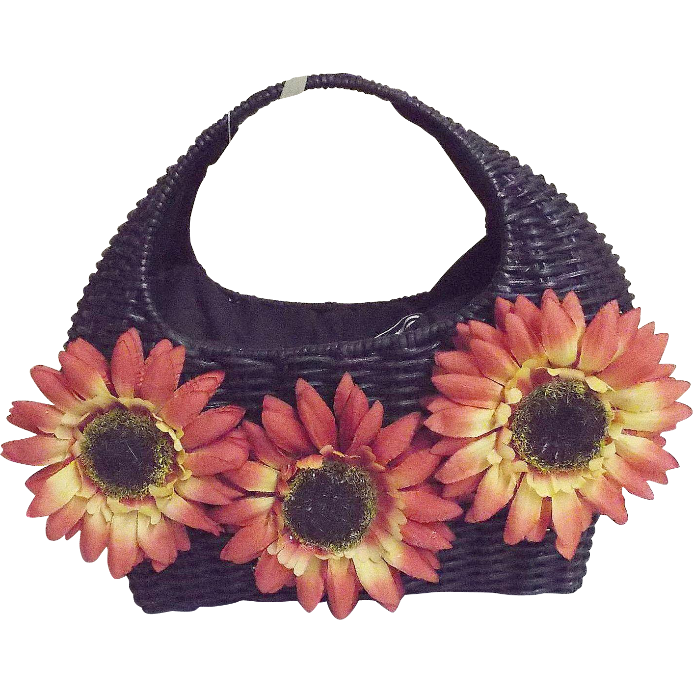 Black Straw / Ratan Handbag With Sunflowers..Double Cotton Drawstring Lining...NOS