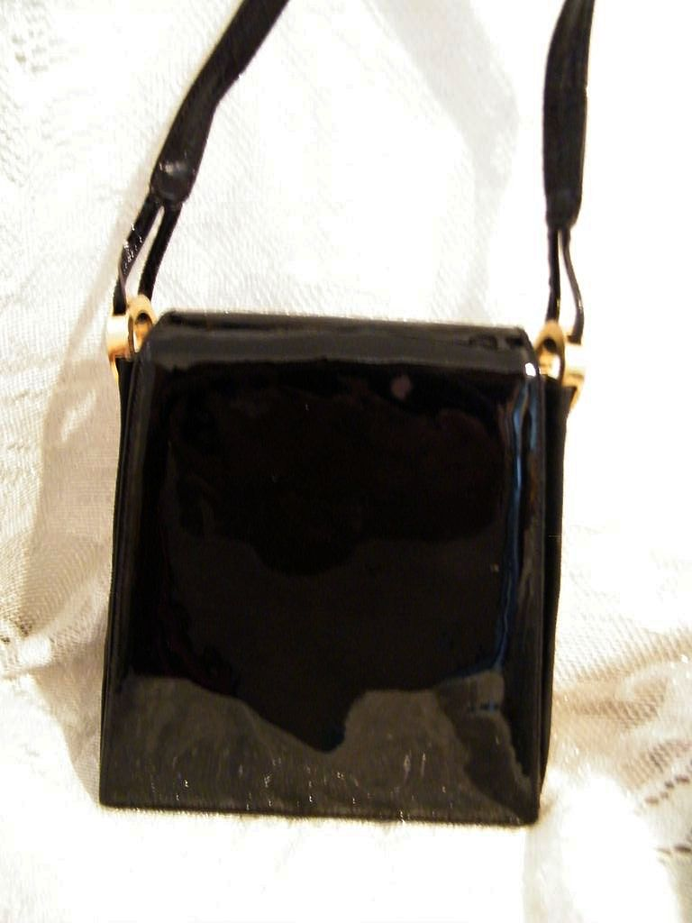 Black Patent Handbag...Elongated Envelope Style..Stuart Weitzman..Very Good Condition!