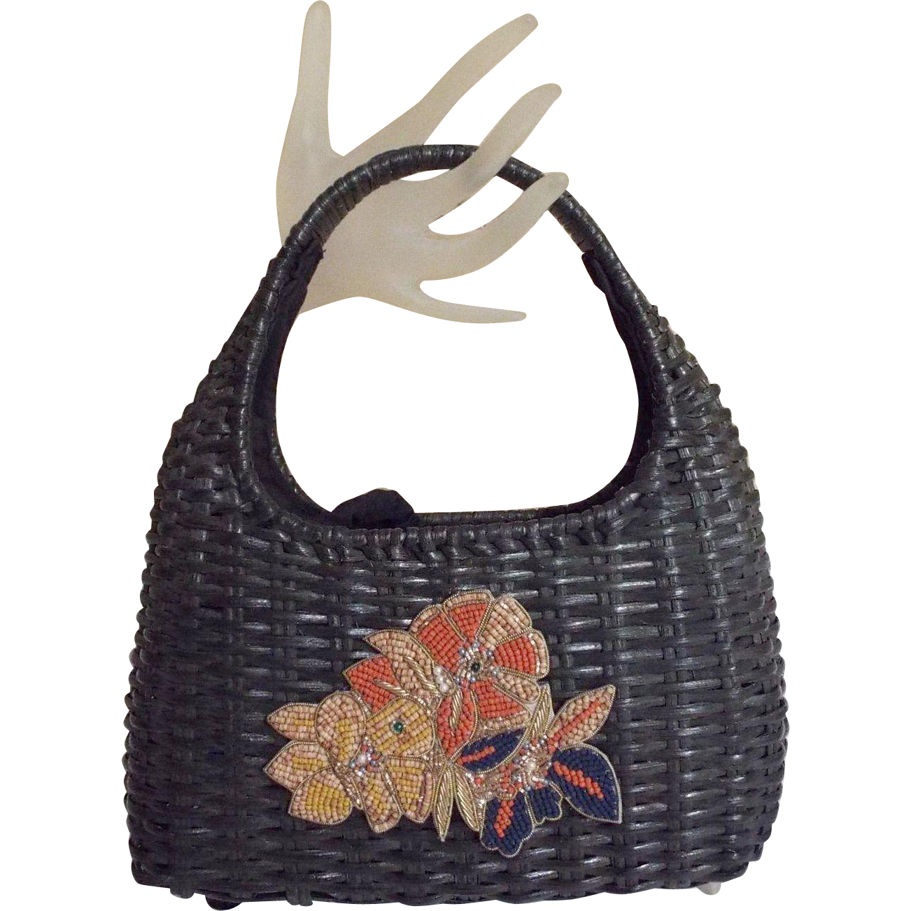 Black Woven Straw Handbag..Draw String Lining..Wood Beaded Floral Applique
