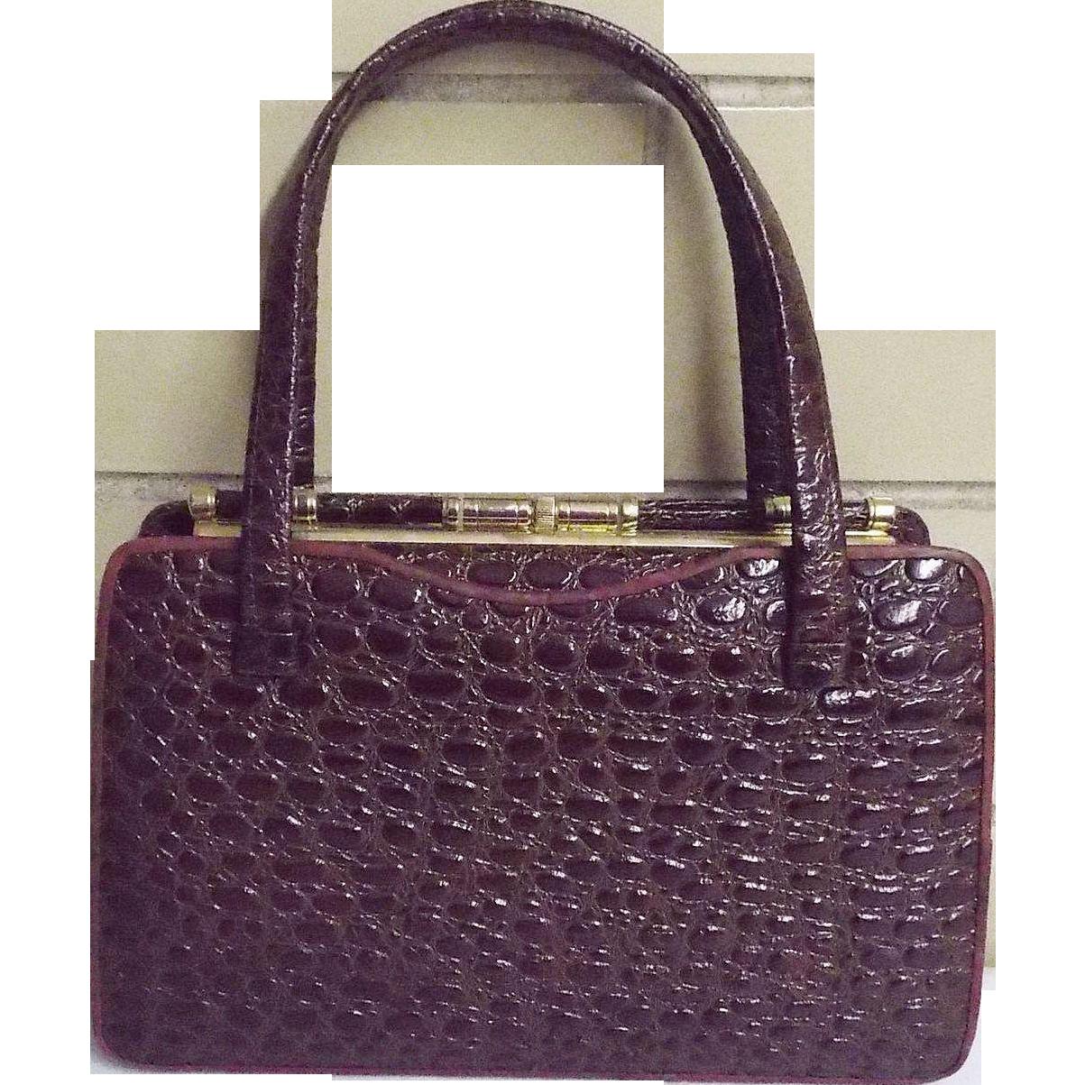 Brown Embossed Leather Faux Alligator Design Stand-UP Handbag