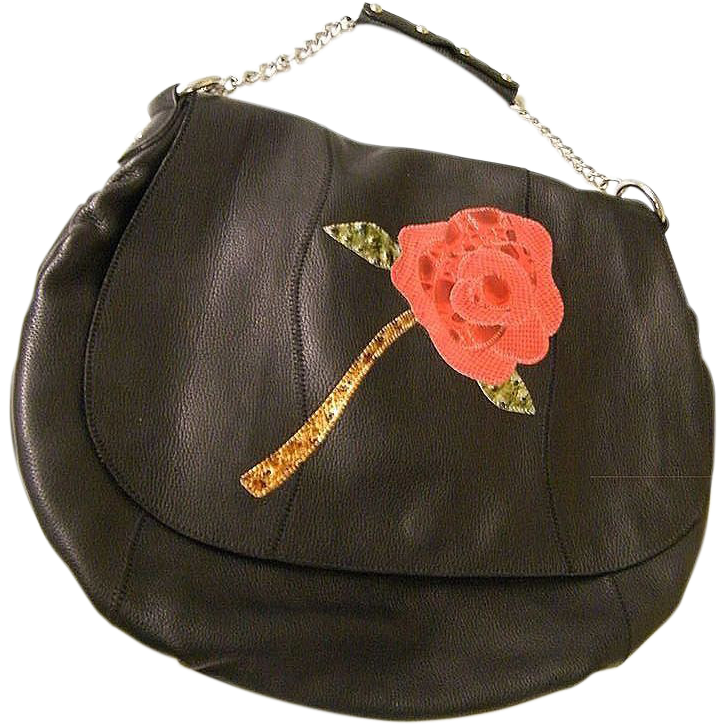 Black Embossed Leather Handbag With A Large Red Appliqued Rose Faux Reptile..Like New