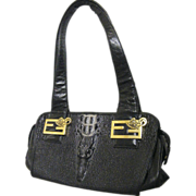 Black Embossed Leather Croc Head Handbag ..Kehzon Logo & Lining