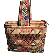 Ethnic Embroidered Burlap Handbag / Tote.....Hippie..Bohemian...Excellent Condition!