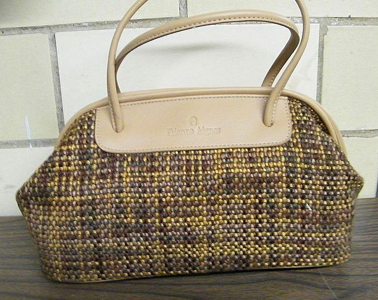 Etienne Aigner Satchel Handbag Purse Hand Woven