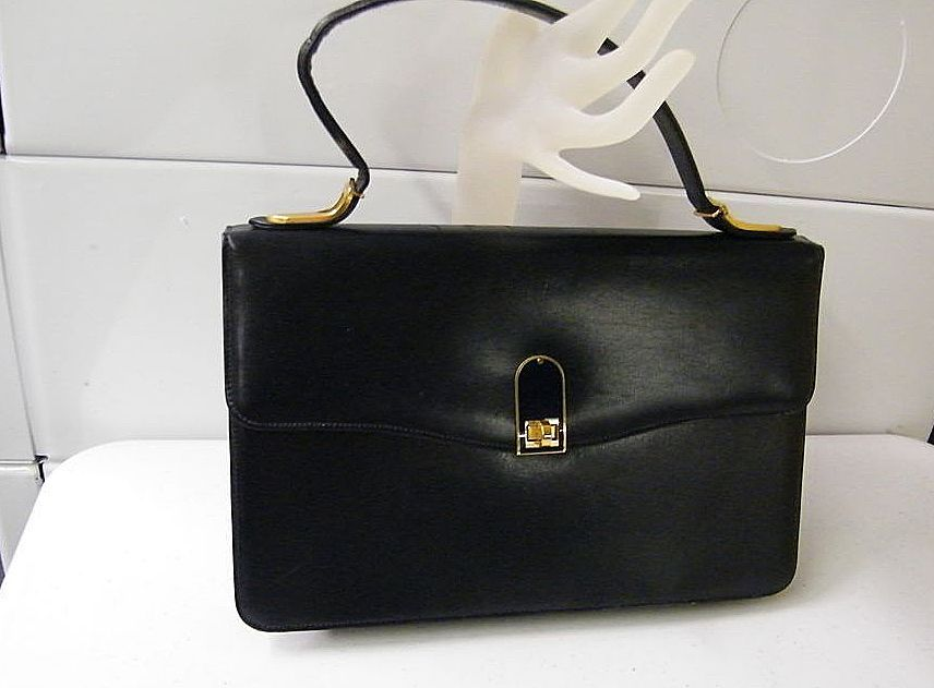Handbag Leather Lined 1950's France Bloomingdales..Purse & Mirror..Excellent Condition