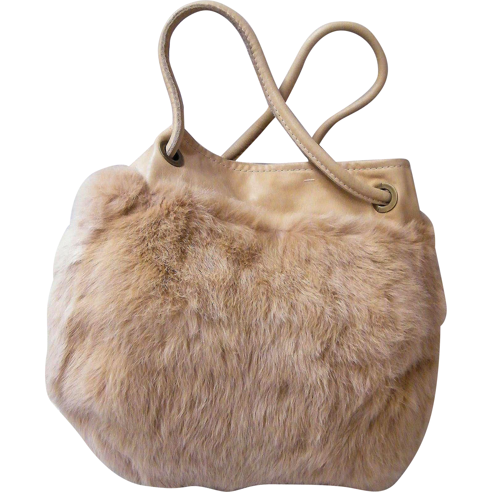 Round Fur Beige Drawstring Handbag With Beige Leather  Trim..Laura San Jurjo For Julia Manantiales