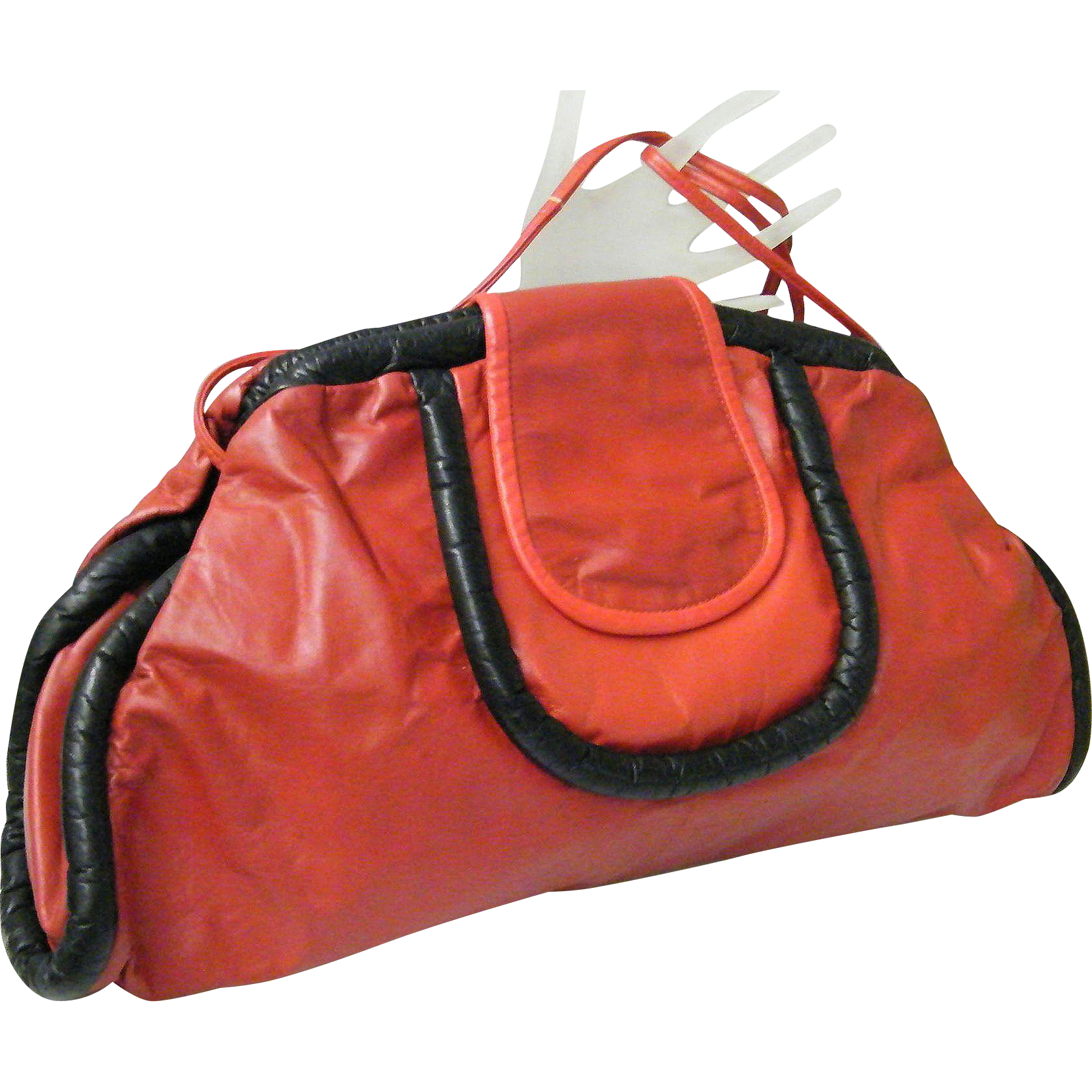 Large Soft Red Leather Envelope Clutch / Shoulder Bag..Black Leather Trim