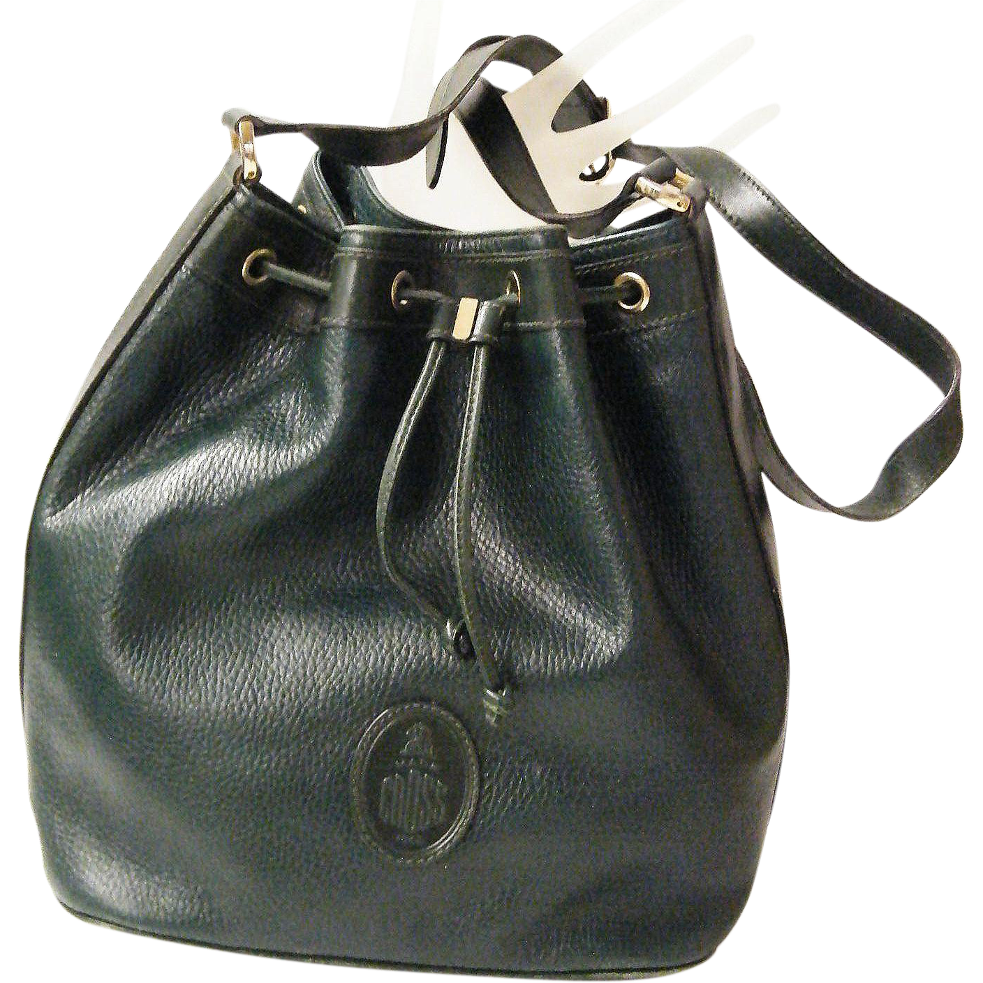 Hunter Green Mark Cross Drawstring Pebble Leather Bucket Feedbag Shoulder Bag..Excellent Condition!
