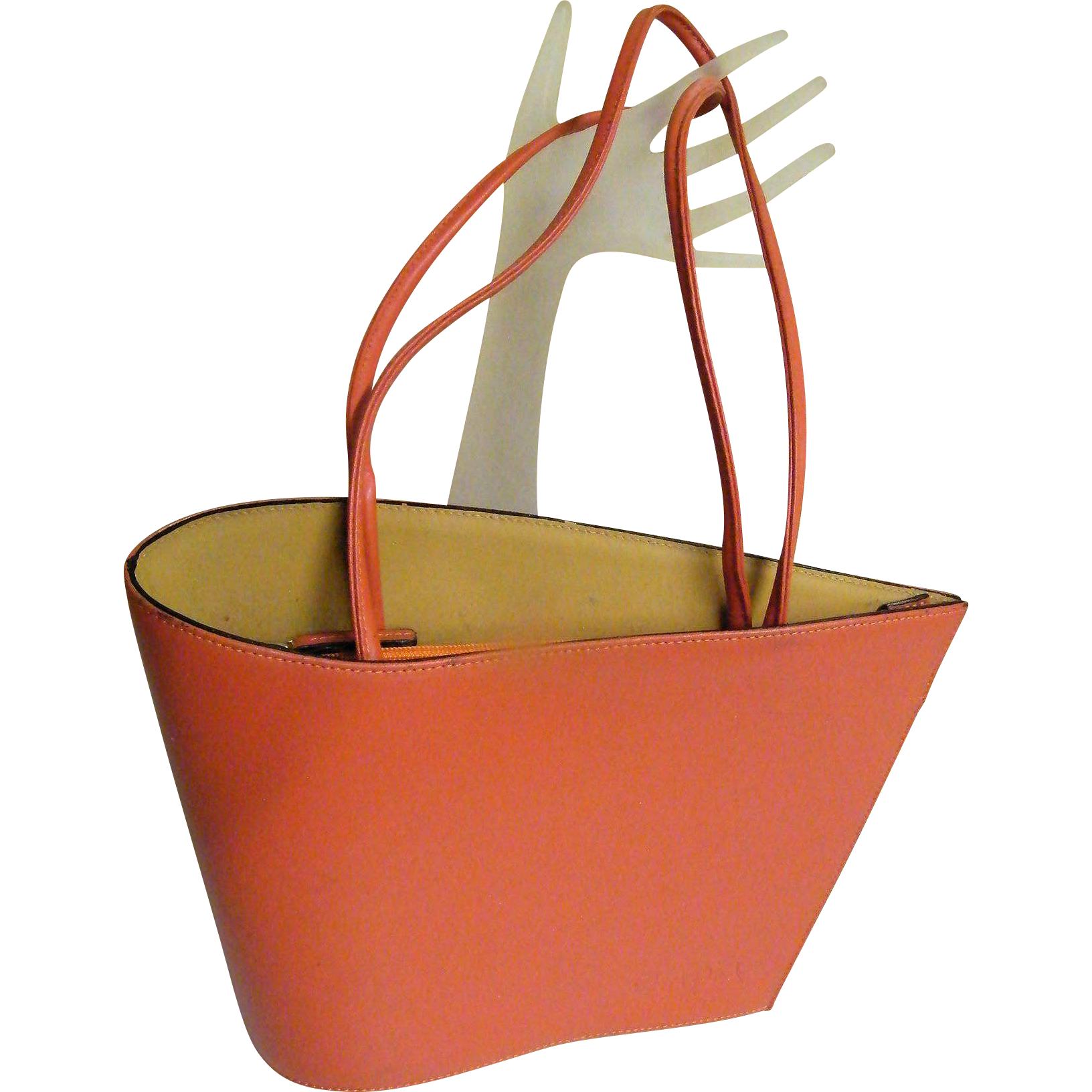 Designer Handbag..Modern Asymetrical..Leather..Soft Coral..Cleo & Patek..Excellent Condition