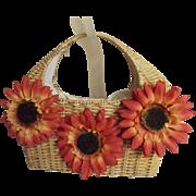 Natural Woven Straw Basket Handbag with 3 Big Vintage Orange Sunflowers..B / W Drawstring Lining