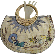Paint The Lily Straw Handbag...Hand Painted..NOS