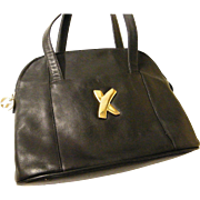 "Paloma Picasso Black Leather ""KISS"" Shoulder Bag"