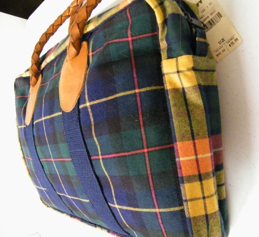 Clan Plaid Collage Handbag Briefcase Doctor Bag Leather Handles..By Nordic House Designs..New With Tags!! By
