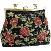 Victorian Style Red Roses Heavily Beaded Handbag / Shoulder Bag..Excellent Condition