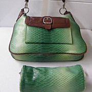 SHARIF STUDIO Green Laminated Leather Reptile Shoulder With Extra Mini Bag...New With Tag